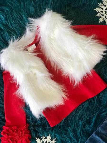 2018 Christmas Merry Magic Luxury White Fur Vest - JEN'S KIDS BOUTIQUE