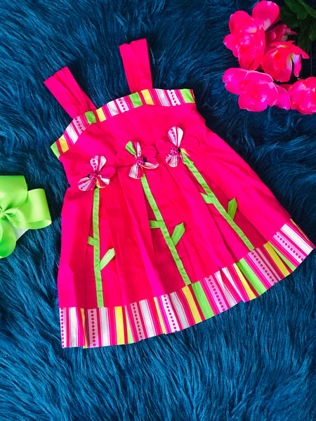 Summer Hot Pink Flower Sun Dress - JEN'S KIDS BOUTIQUE