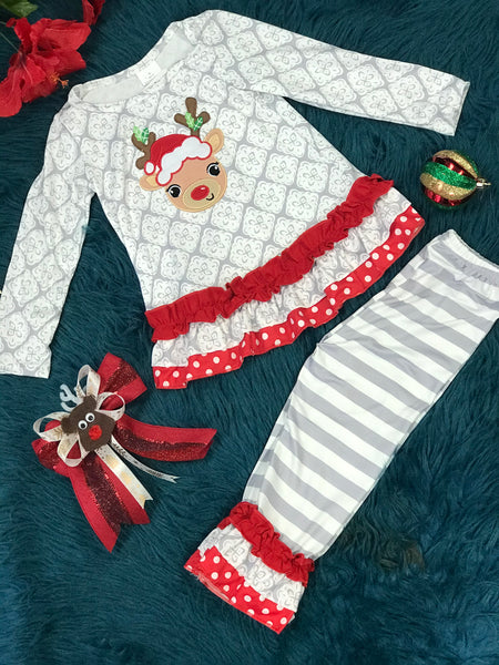 New Christmas Girls Mixed Print Ruffle Rudolph Red Nose Reindeer Ruffle  Pant Set C - JEN'S KIDS BOUTIQUE