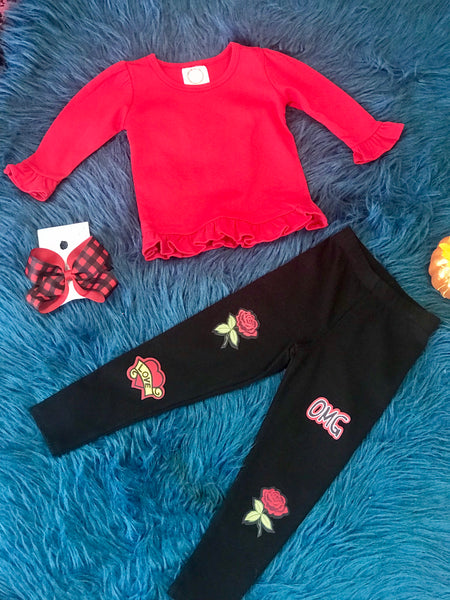 New Fall Fun Cotton Patch Skinny Black Leggings - JEN'S KIDS BOUTIQUE