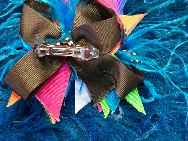 Stunning Multi Color Cheetah Feather Hair Bow - JEN'S KIDS BOUTIQUE