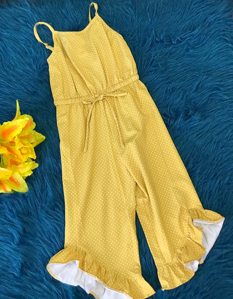 Millie Jay Mustard Dot Chloe Sleeveless Romper - JEN'S KIDS BOUTIQUE