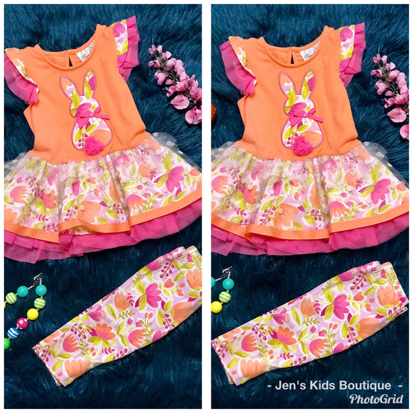 Rare Editions Hip Hop Bunny Orange Easter Tutu Set C - JEN'S KIDS BOUTIQUE