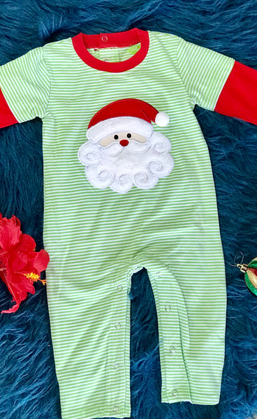 New Fall Be Mine Boys Green Stripped Santa Applique Romper - JEN'S KIDS BOUTIQUE