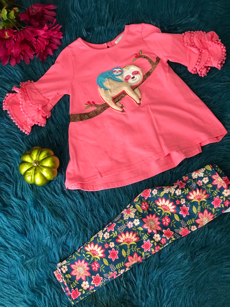 New Fall Heather Knit With Sloth App Pant Set. - JEN'S KIDS BOUTIQUE