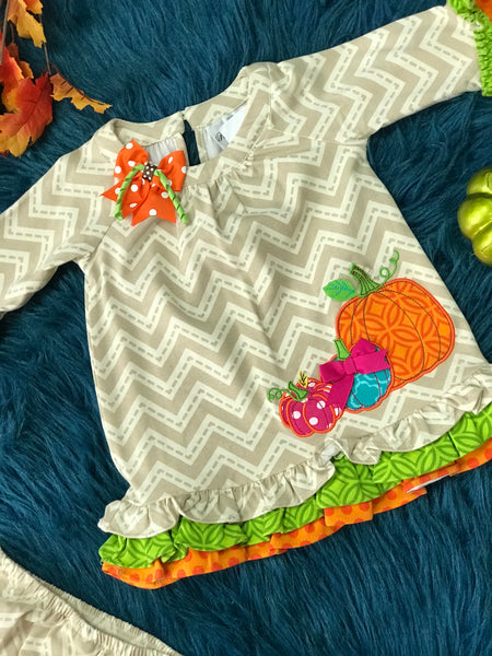Fall Thanksgiving Colorful Pumpkin Dress H - JEN'S KIDS BOUTIQUE