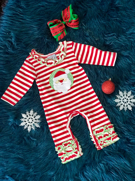 2018  Three Sisters Christmas Girls Ruffle Knit Santa Infant Romper - JEN'S KIDS BOUTIQUE