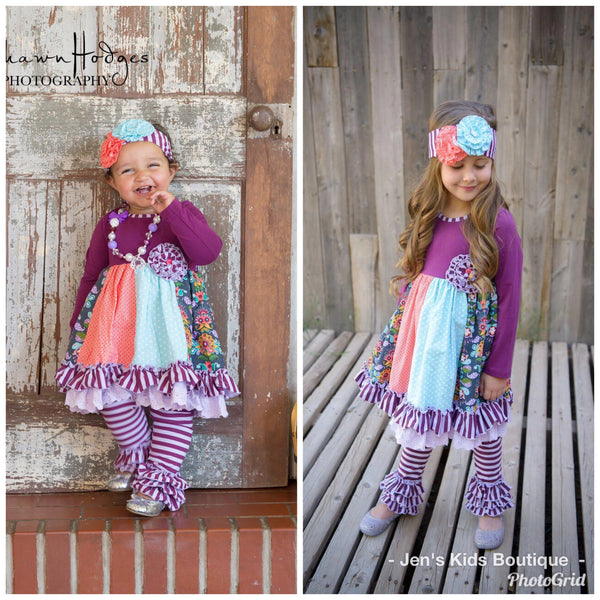 2018 Fall Serendipity Jeweled Forest Dress W/Legging - JEN'S KIDS BOUTIQUE