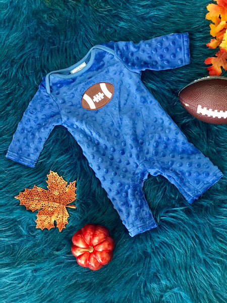 Three Sisters Fall Football Blue Applique Minky Romper - JEN'S KIDS BOUTIQUE