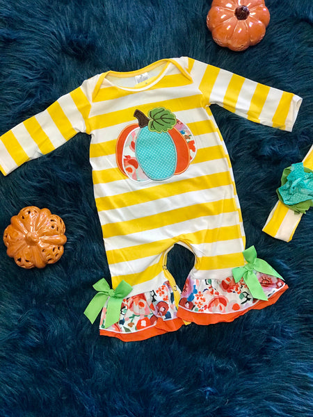 2018 Playful Stripped Thanksgiving  Pumpkin Girls Romper - JEN'S KIDS BOUTIQUE