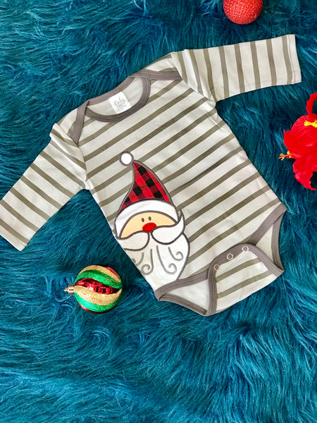 New Christmas Boys Gray Stripped Infant Santa Onesie - JEN'S KIDS BOUTIQUE