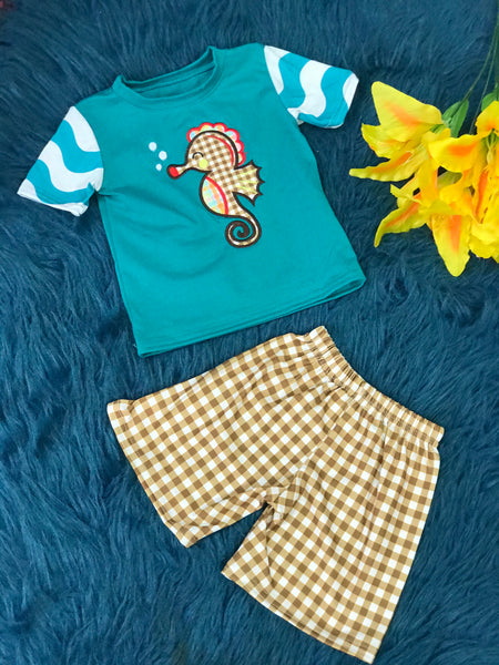 Summer Fun Aqua Chevron Sea Horse Boys Shorts Set - JEN'S KIDS BOUTIQUE