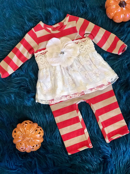 Peaches N Cream Fall Stripped Vintage Infant Romper CH - JEN'S KIDS BOUTIQUE