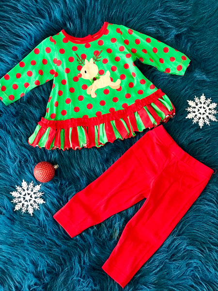Molly & Millie Christmas Holiday Green/Polkadot Reindeer Infant Legging Set - JEN'S KIDS BOUTIQUE