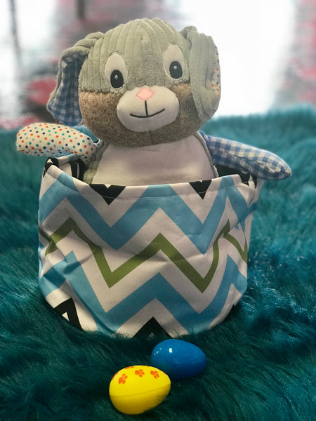 2018 Easter Multi Blue and Green Chevron Easter Baskets - JEN'S KIDS BOUTIQUE