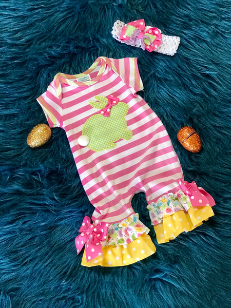 Peaches N Cream Easter Pink Stripped Bunny Infant Romper - JEN'S KIDS BOUTIQUE