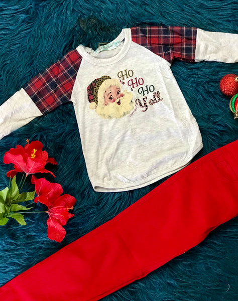New Southern Grace Girls Grace Ho Ho Yall Santa On Light Grey Raglan With Red Plaid CH - JEN'S KIDS BOUTIQUE