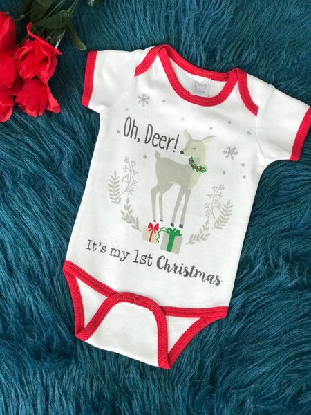 Baby Ganz Oh Deer It's My First Christmas Infant Romper CH - JEN'S KIDS BOUTIQUE