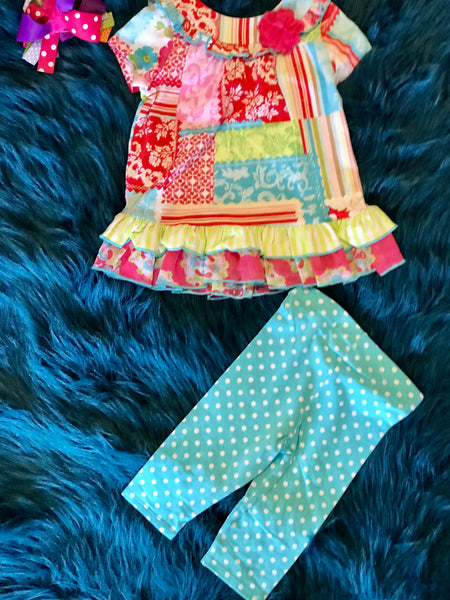 Spring Fun Adorable Multi Flower Capri Set - JEN'S KIDS BOUTIQUE