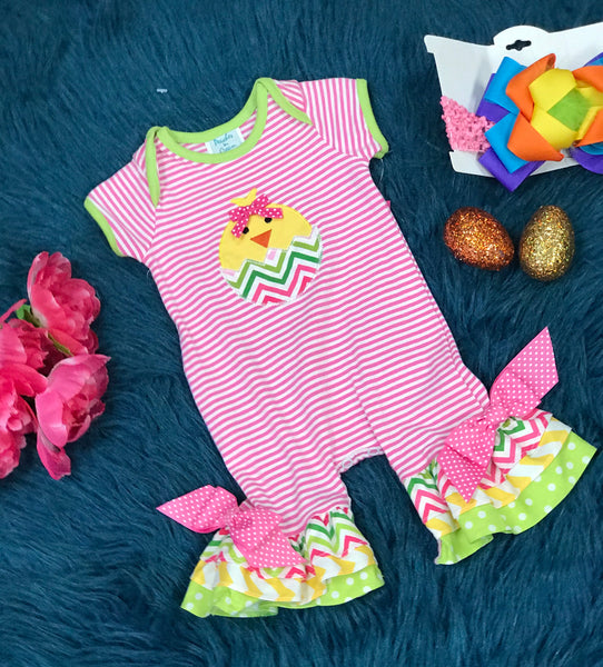 Peaches & Cream Stripped Chevron Chick In Egg Ruffle Romper ECL - JEN'S KIDS BOUTIQUE