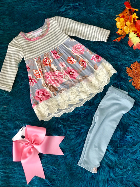 New Fall Gray Floral Lace Pant Set - JEN'S KIDS BOUTIQUE