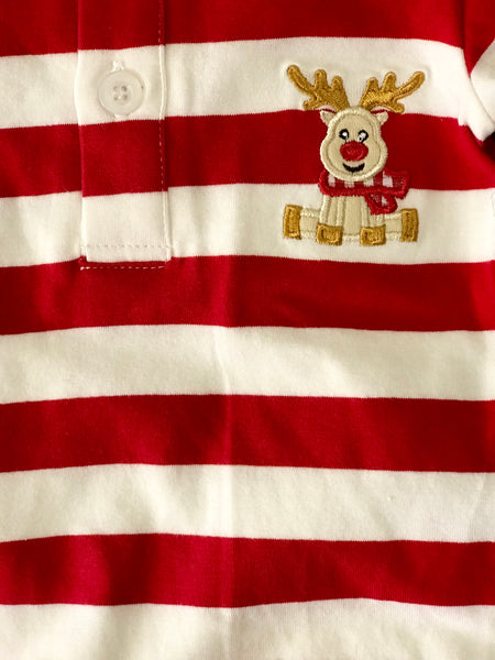 Three Sisters Boys Stripped ReindeerInfant Romper - JEN'S KIDS BOUTIQUE