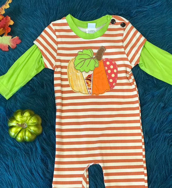 Boys and Berries by Peaches and Cream Boys Pumpkin Spice Romper TH - JEN'S KIDS BOUTIQUE
