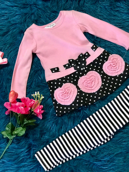 Valentines Pink & Black Heart Pant Set - JEN'S KIDS BOUTIQUE