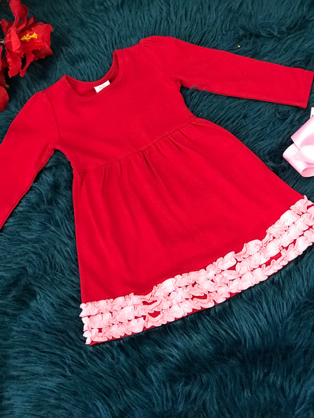 Perfect Valentine Red With Pink Trim Long Sleeve Dress - JEN'S KIDS BOUTIQUE