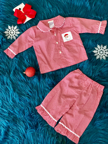 Christmas Gingham Santa Girls Cotton Pajamas - JEN'S KIDS BOUTIQUE
