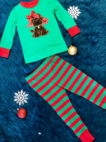 Adorable Green & Red Christmas Puppy Pajamas - JEN'S KIDS BOUTIQUE