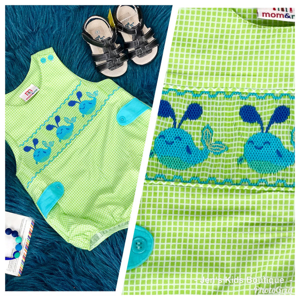 2019 Spring & Summer Boys Mom & Me Adorable Whale Bubble Romper - JEN'S KIDS BOUTIQUE