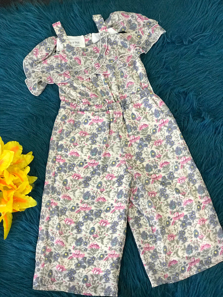 Isobella & Chloe Sweet Fleurette Mixed Floral Jumpsuit - JEN'S KIDS BOUTIQUE