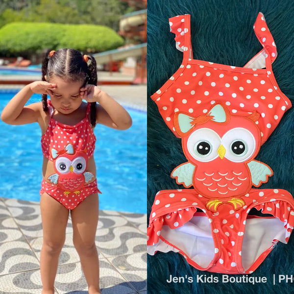 Summer Fun Ruffle One Piece Owl Bikini Swimsuit - JEN'S KIDS BOUTIQUE