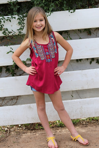 2018 Spring adorable Berry Tribal Sleeveless Shirt - JEN'S KIDS BOUTIQUE