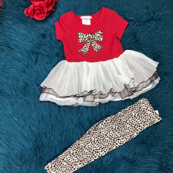 Bonnie Jean Red Cheetah Bow & Cheetah Legging Tutu Set F - JEN'S KIDS BOUTIQUE
