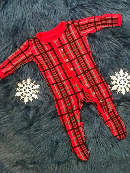 2018 Christmas Holiday Classic Ruffle Footie with Snaps Christmas Plaid - JEN'S KIDS BOUTIQUE