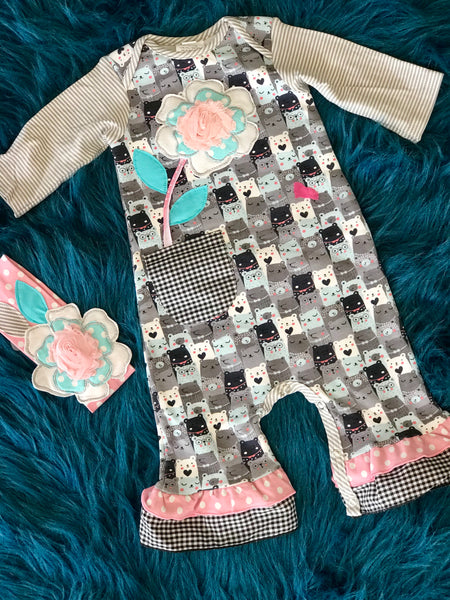 2018 Fall Adorable ZaZa Couture Roki & Zoe Pink & Gray Bear Romper