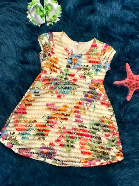 Spring Fun Adorable Cream Multi Flower Dress C - JEN'S KIDS BOUTIQUE