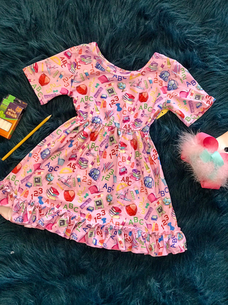 Fall Back To School Adorable Pink Cotton Dress - JEN'S KIDS BOUTIQUE