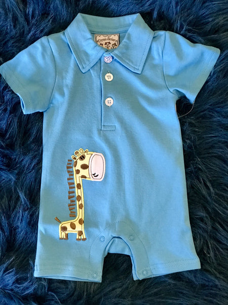 Spring Three Sisters Giraffe Infant Boys Romper C - JEN'S KIDS BOUTIQUE