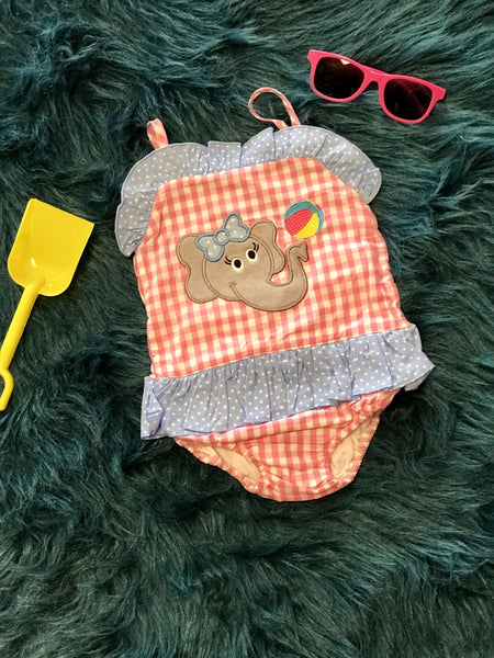 2018 Summer Adorable Elephant Applique One Piece Sun Suit - JEN'S KIDS BOUTIQUE