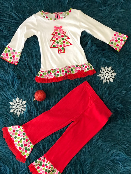 Ann Loren Christmas Tree Pant Set - JEN'S KIDS BOUTIQUE