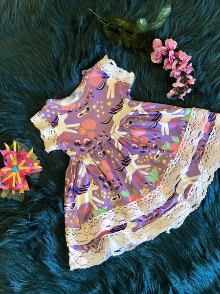 Summer Girl Unicorn Lace Purple Princess Party Dress Sleeveless Sundress - JEN'S KIDS BOUTIQUE