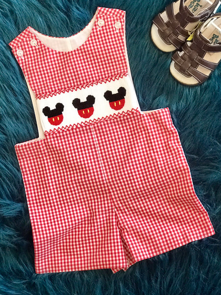 Banana Split Red/White Boys Summer Disney Mickey Mouse Jon Jons - JEN'S KIDS BOUTIQUE