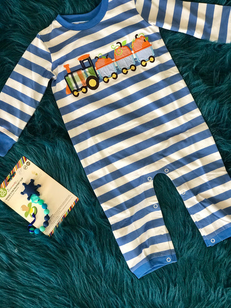 2018 Fall Three Sisters Boys Pumpkin Train Thanksgiving Romper - JEN'S KIDS BOUTIQUE