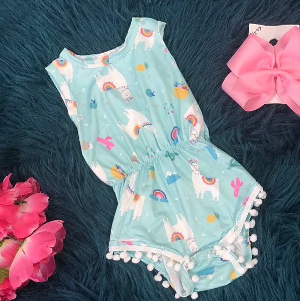 Spring Llama Fun Print Pom Pom Romper By Mila Rose - JEN'S KIDS BOUTIQUE