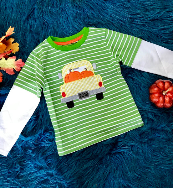 New Fall Be Mine Boys Stripped Pumpkin Truck Long Sleeve Applique Shirt - JEN'S KIDS BOUTIQUE