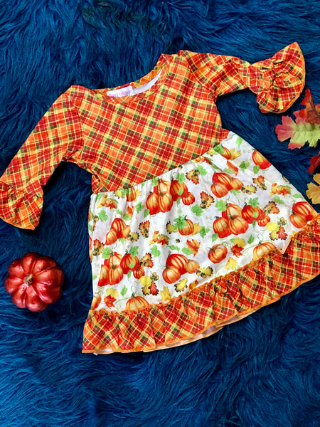 New Fall Thanksgiving Multi Pumpkin Dress - JEN'S KIDS BOUTIQUE