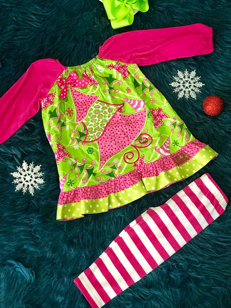 Mille Jay Christmas In Pink Christmas Tree Legging Set - JEN'S KIDS BOUTIQUE
